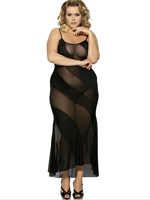 Ericdress Spaghetti See-Through Lace Plus Size Babydoll