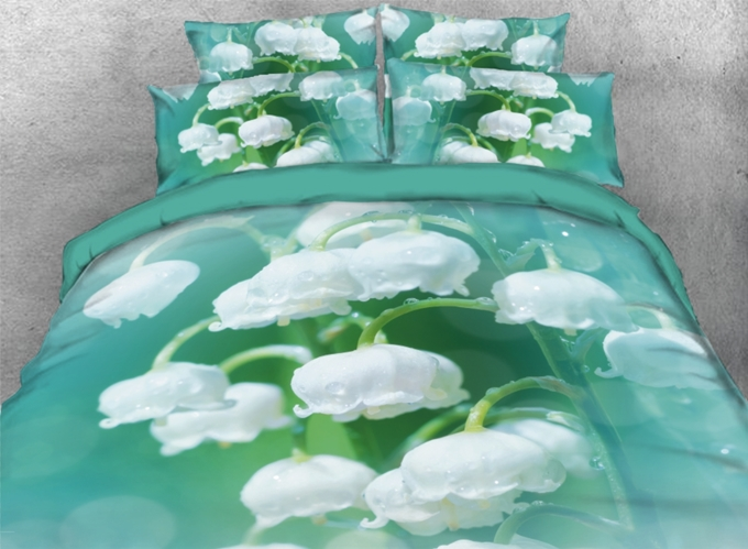 Vivilinen 3D Green Lily of the Valley Pattern Print Quilt Cover Sheet Bedding Set