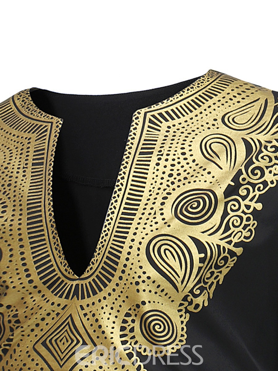 Ericdress African Fashion Dashiki V-Neck Ethnic Print Men's T Shirt