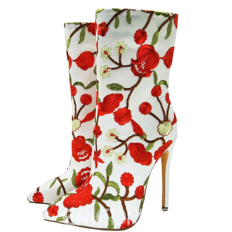 Ericdress Embroidery Slip-On Pointed Toe Stiletto Heel Boots
