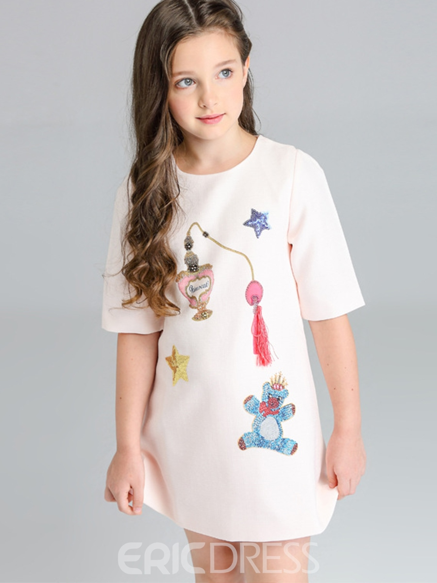 Ericdress Cartoon Print Half Sleeve A-line Girl's Dress
