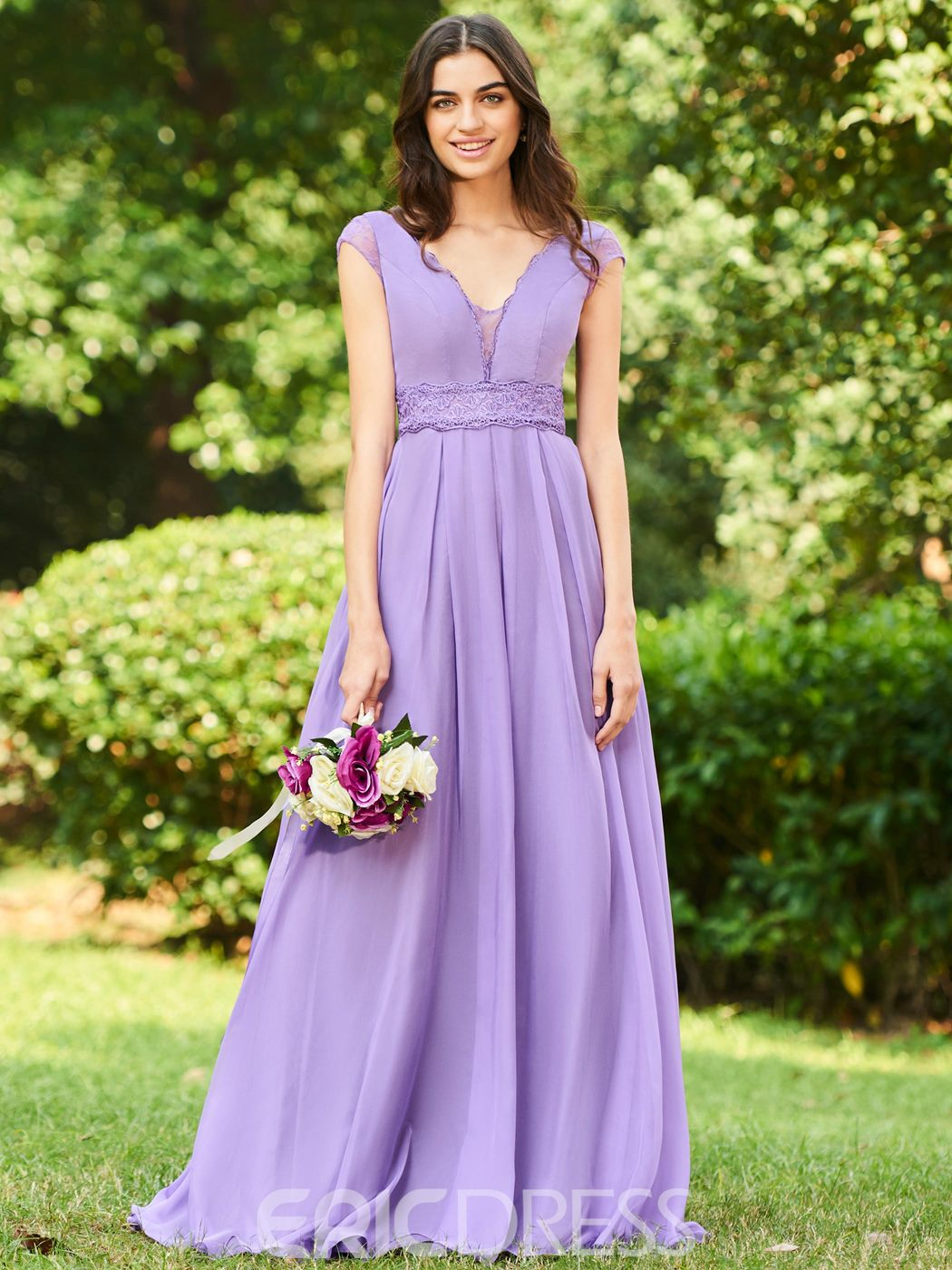 Ericdress Cap Sleeve Lace Long Bridesmaid Dress