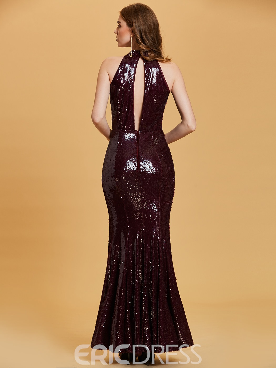 Ericdress Halter Neck Sequins Split Front Mermaid Evening Dress