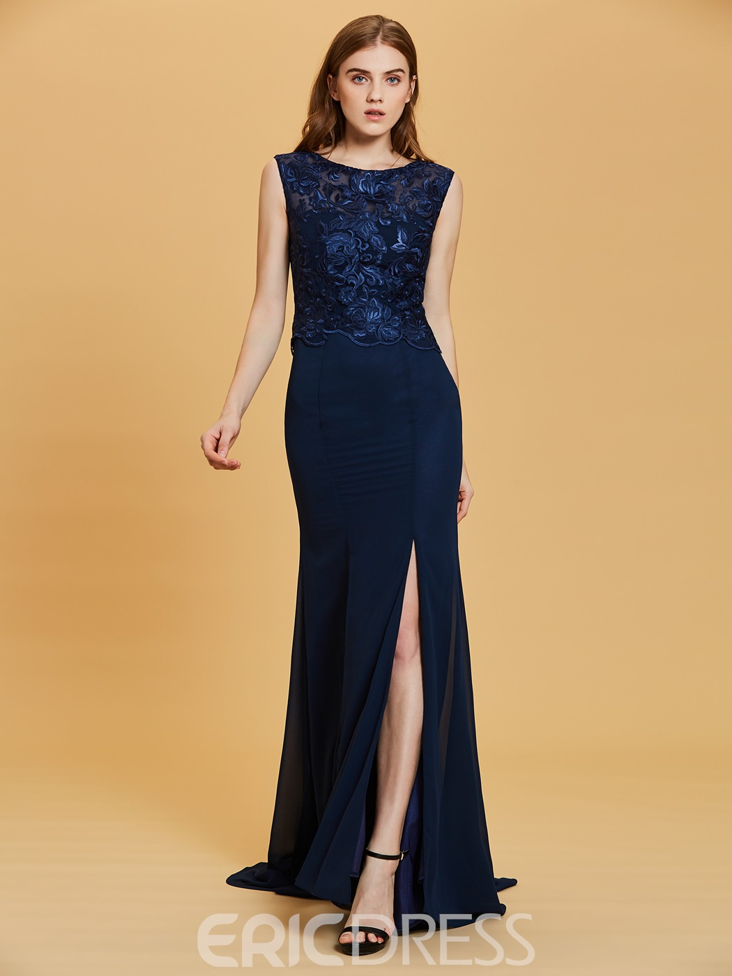 Ericdress Lace Appliques Split-Front A Line Evening Dress