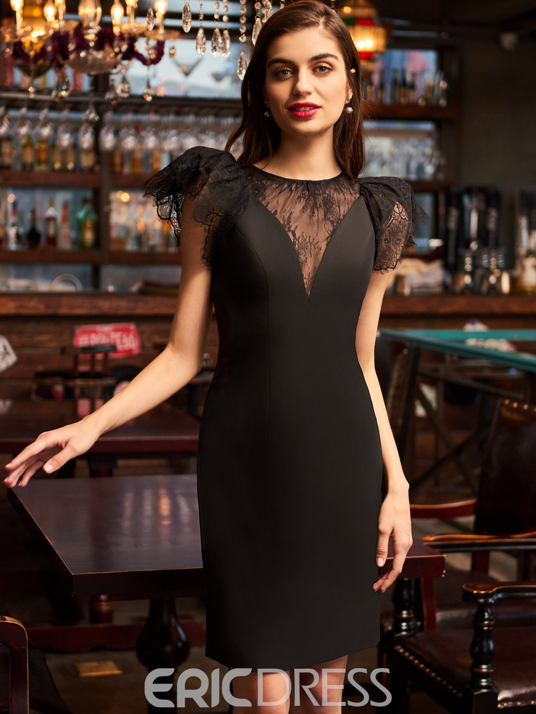 Ericdress Lace Cap Sleeve Knee Length Black Cocktail Dress