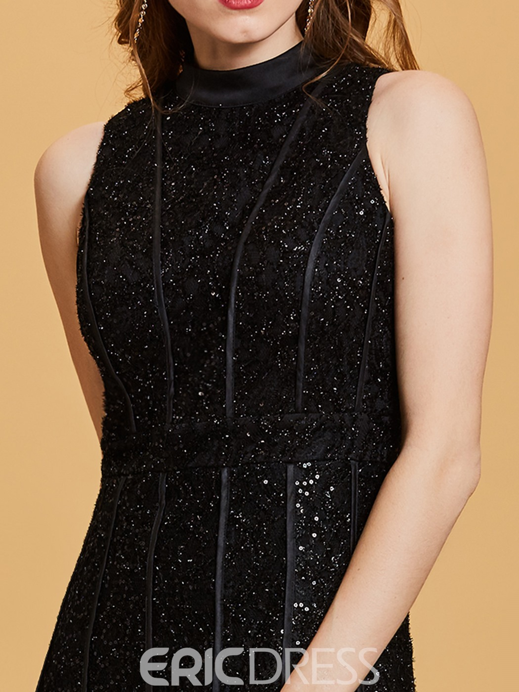 Ericdress Scoop Neck Sequins A Line Black Evening Dress