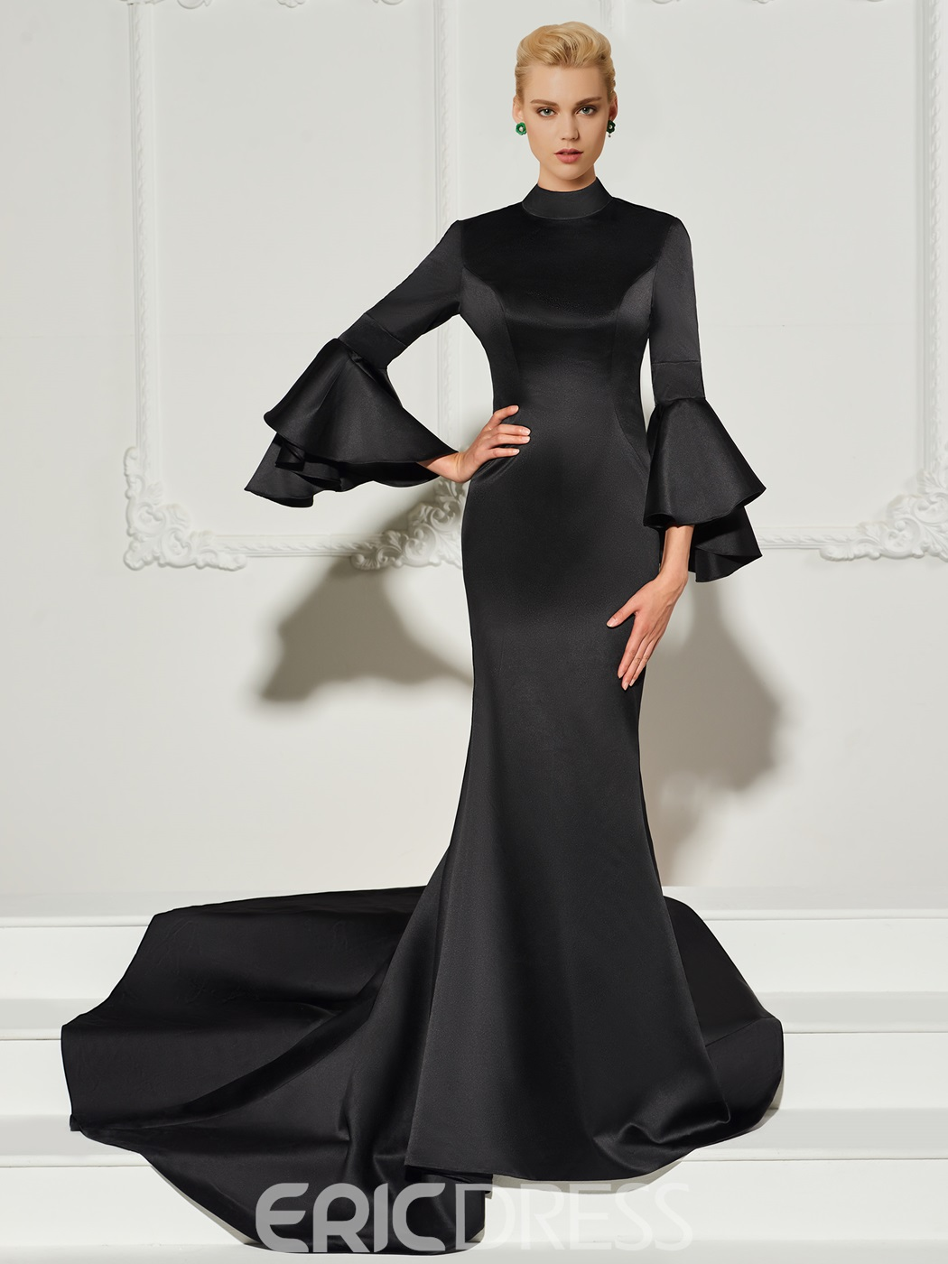 Ericdress Vintage Long Sleeve Mermaid Black Evening Dress 13128654 ...
