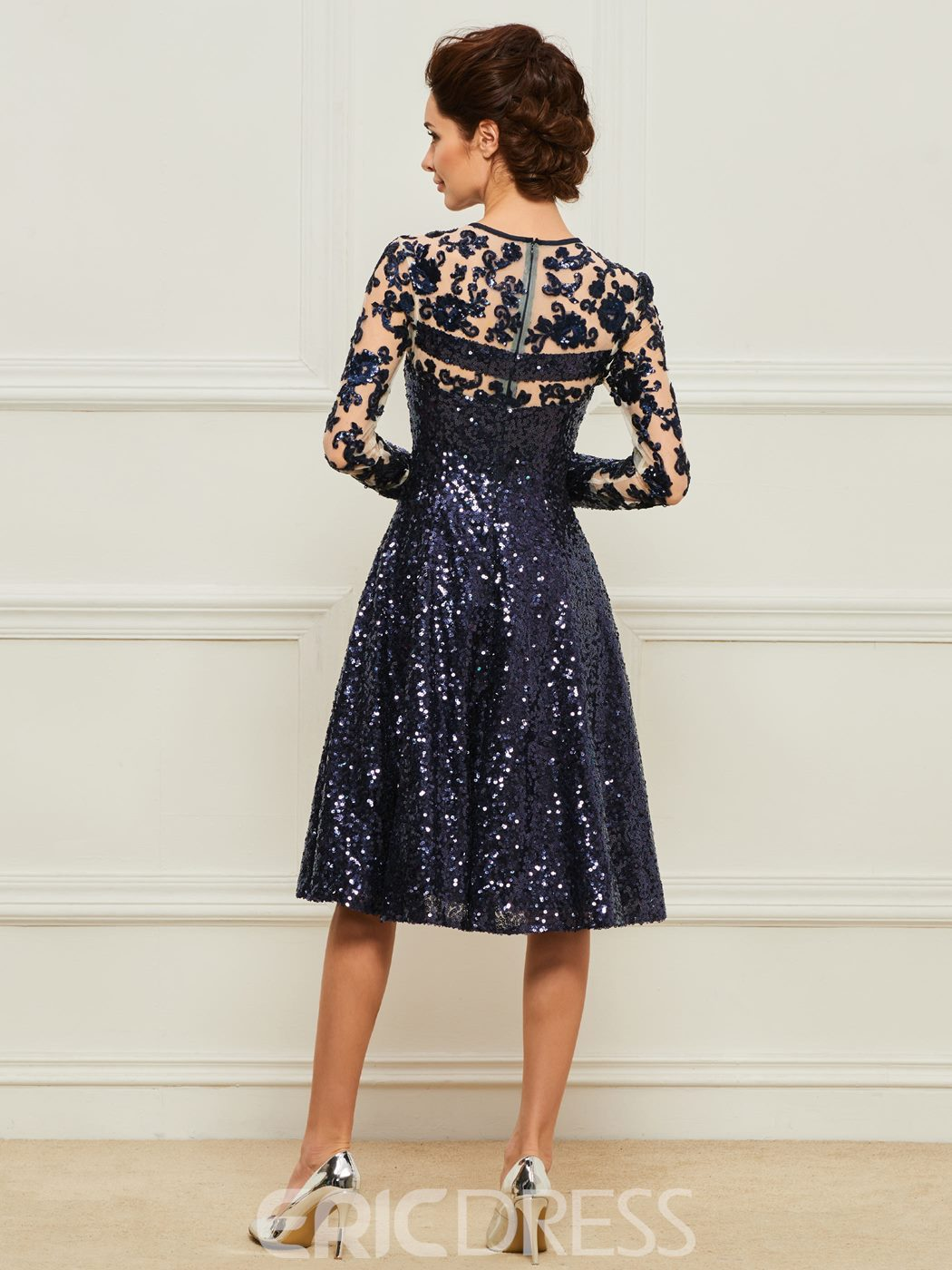Ericdress A-Line Long Sleeves Sequins Mother of the Bride Dress