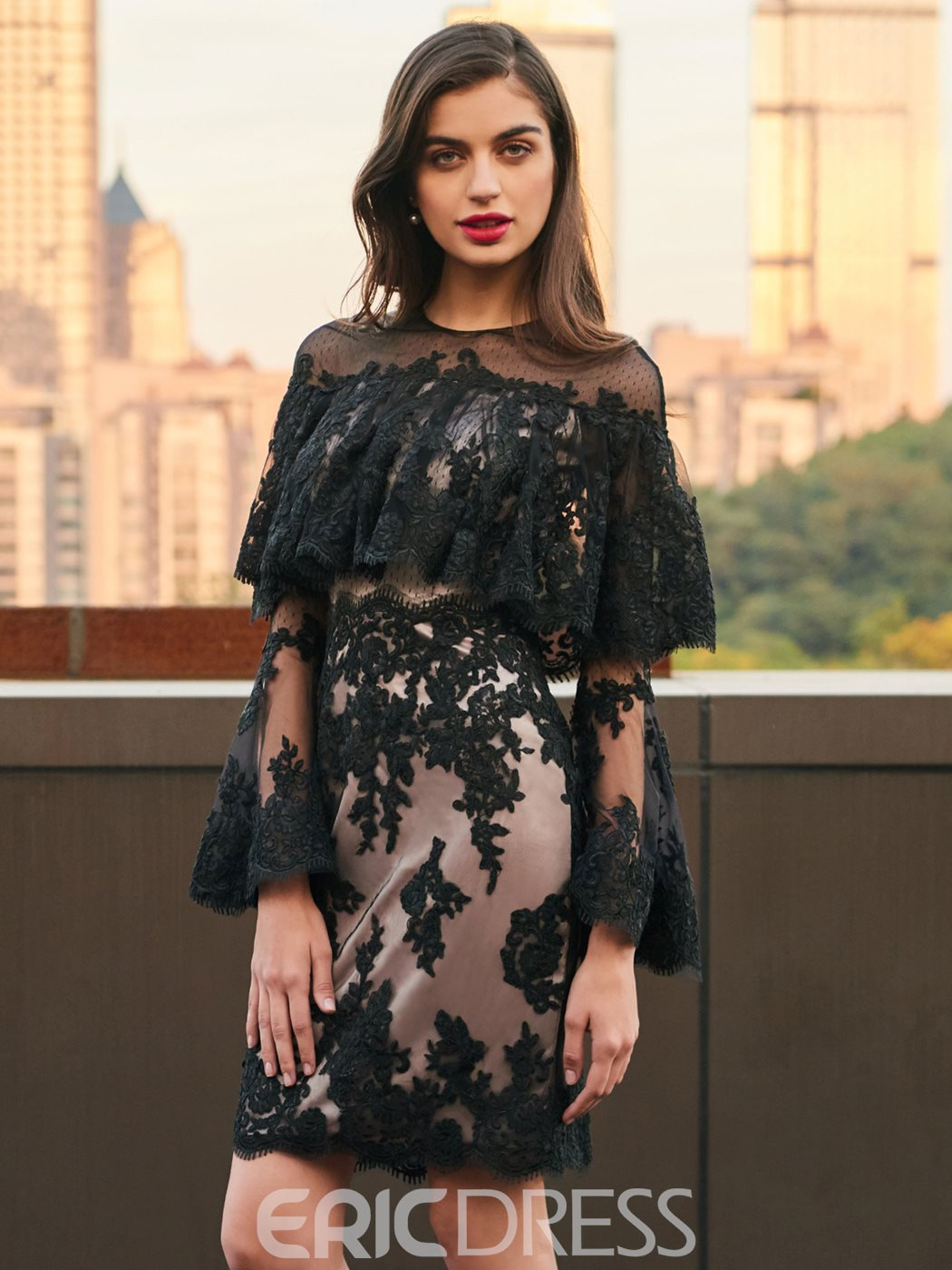 Ericdress Sheath Long Sleeve Knee Length Lace Cocktail Dress ...