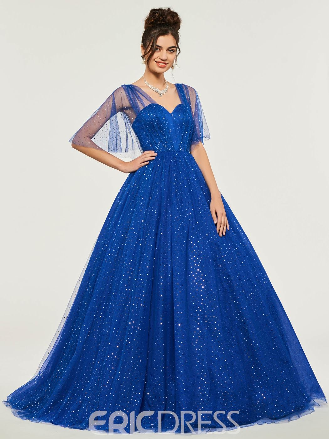 ericdress manches demi-point tulle backless balle robe quinceanera