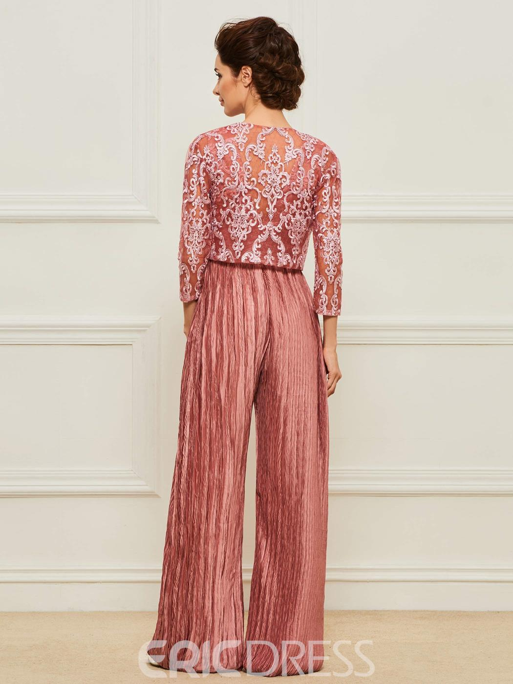 Ericdress V-Neck Mother of the Bride Jumpsuit with Jacket