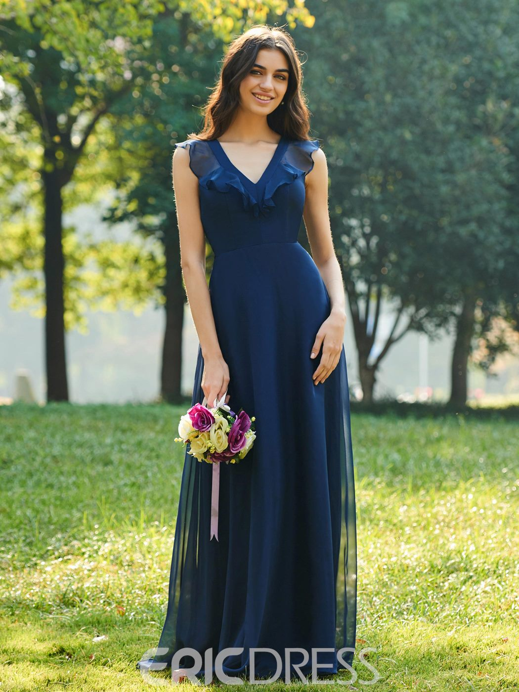 Ericdress V-Neck Ruffles A-Line Bridesmaid Dress