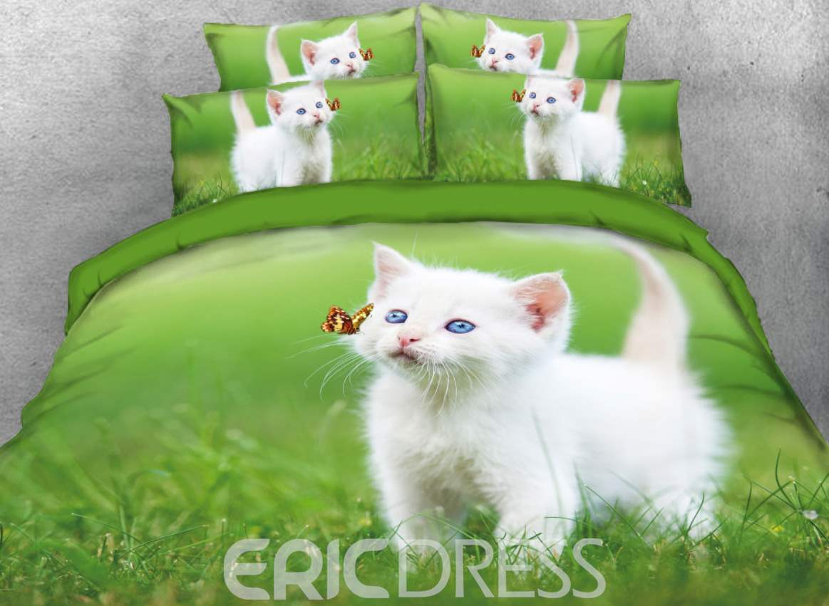 Vivilinen 3D White Cat Playing with Butterfly Printed 4-Piece Bedding Sets/Duvet Cover