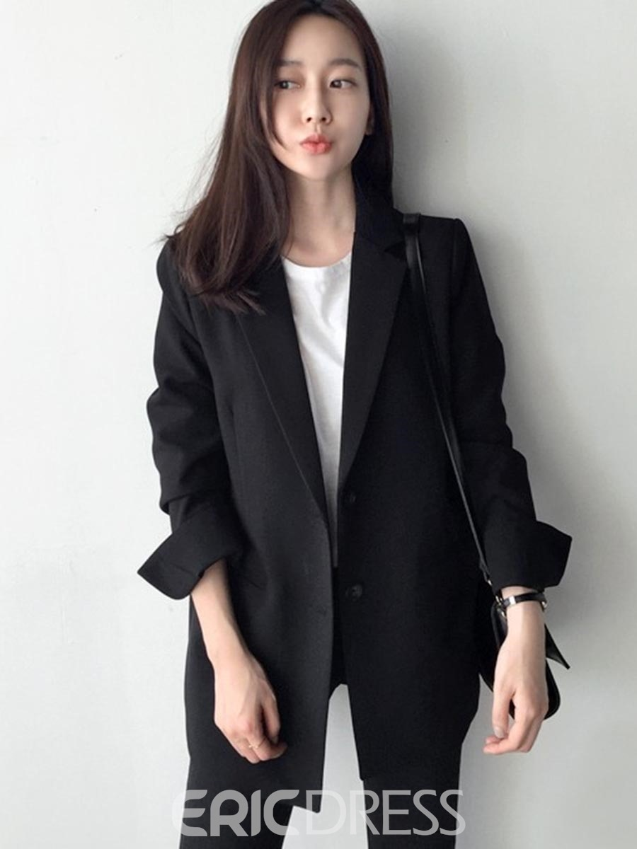 Ericdress Plain Single-Breasted Mid-Length Blazer
