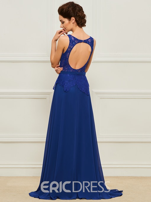 Ericdress Scoop Neck Lace Chiffon Evening Dress With Slit Side