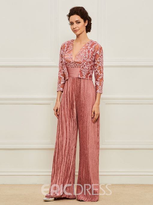 Ericdress Appliques Mother of the Bride Jumpsuits with Jacket
