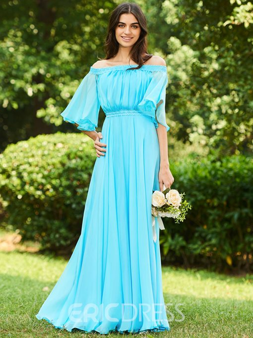 Ericdress Off-the-Shoulder Lace Short Sleeve Bridesmaid Dress