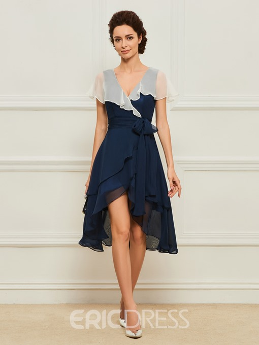 Ericdress Cap Sleeve Ruffles Short Mother of the Bride Dress