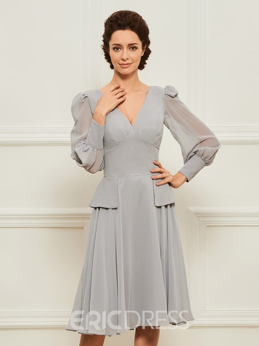 Ericdress Long Sleeves Tea Length Mother of the Bride Dress