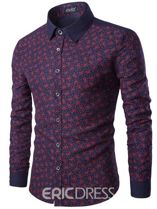 Ericdress Floral Print Lapel Slim Fit Mens Single Breasted Shirt