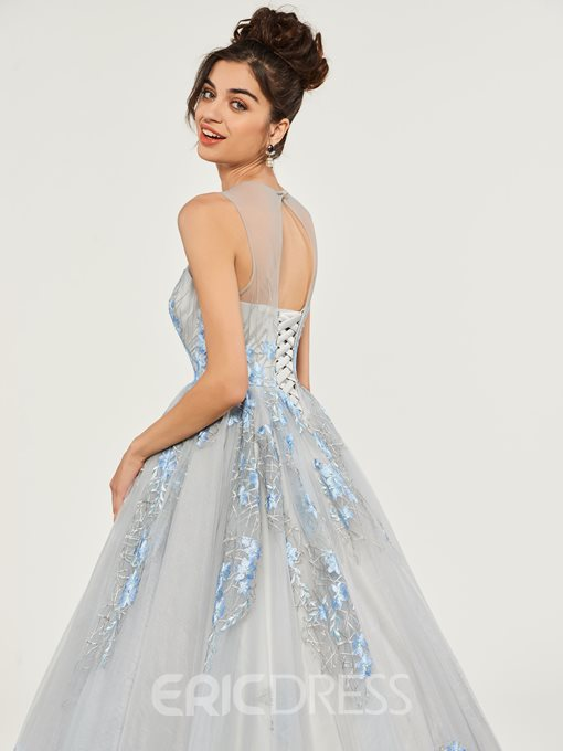 Ericdress Scoop Neck Applique Ball Quinceanera Dress With Lace-Up Back