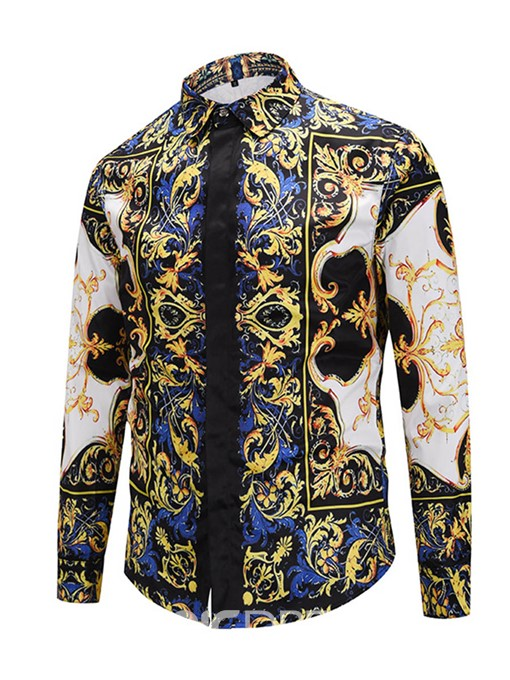 Ericdress African Fashion Dashiki Lapel Color Block Straight Men's Shirt