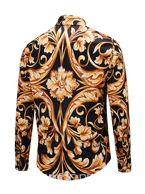 Ericdress African Fashion Dashiki Lapel Flower Print Color Block Men's Shirt