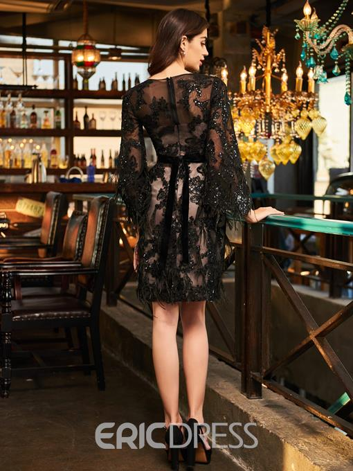 Ericdress Sheath Long Sleeve Applique Beaded Black Cocktail Dress