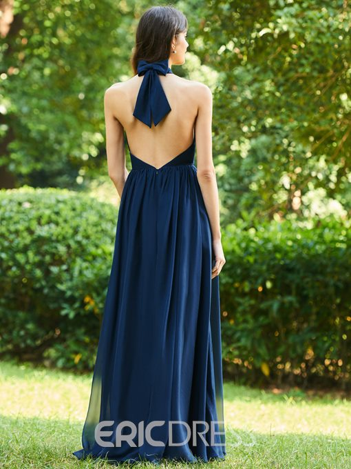 Ericdress Halter A-Line Backless Bridesmaid Dress