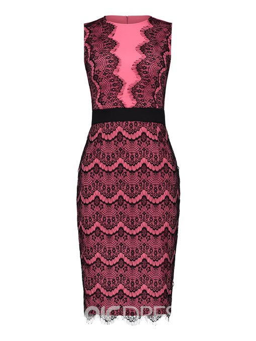 Ericdress Color Block Sleeveless Lace Patchwork Bodycon Dress