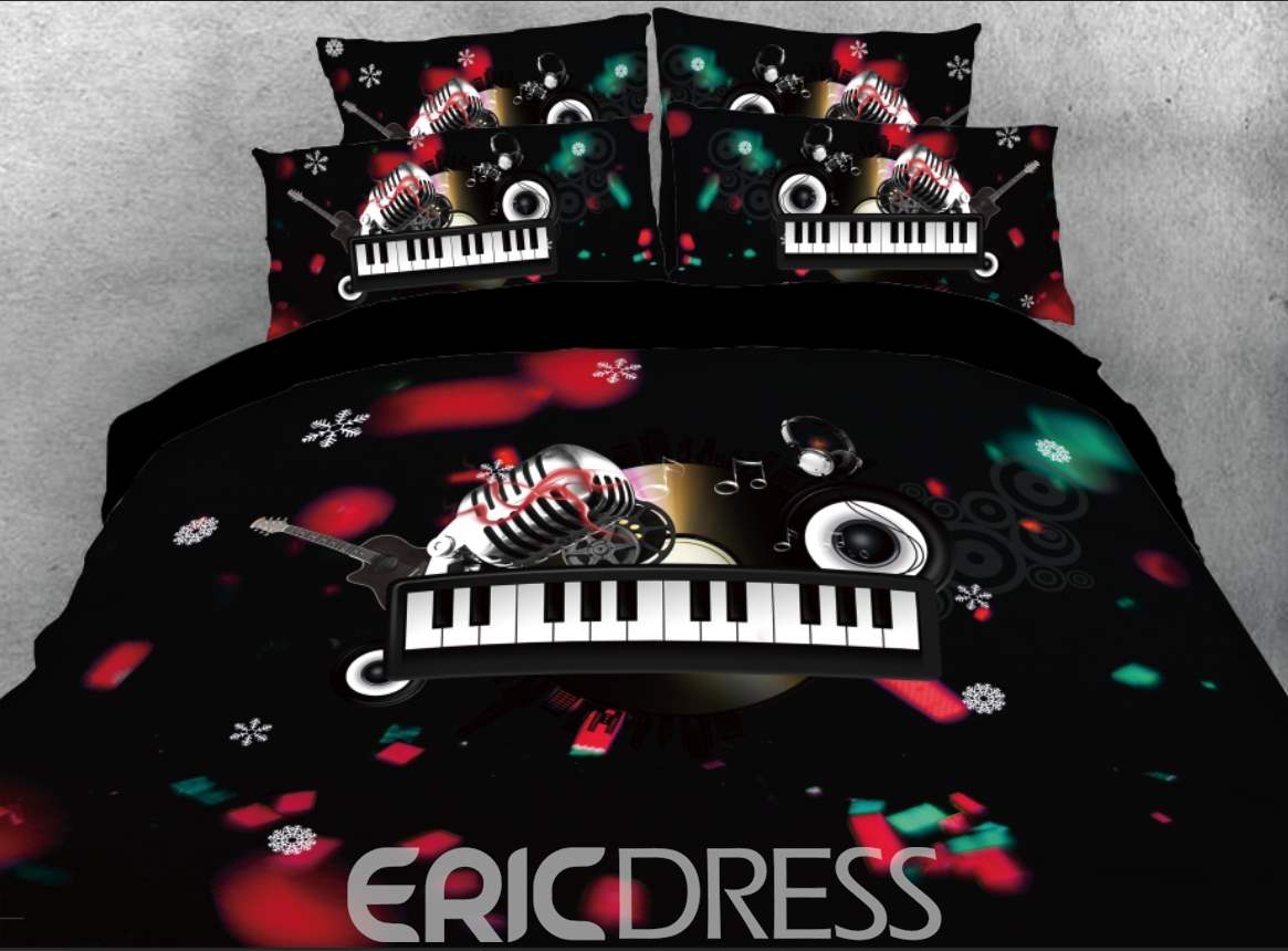 Vivilinen 3D Christmas Microphone and Keyboard Melody Printed 4-Piece Bedding Sets/Duvet Covers