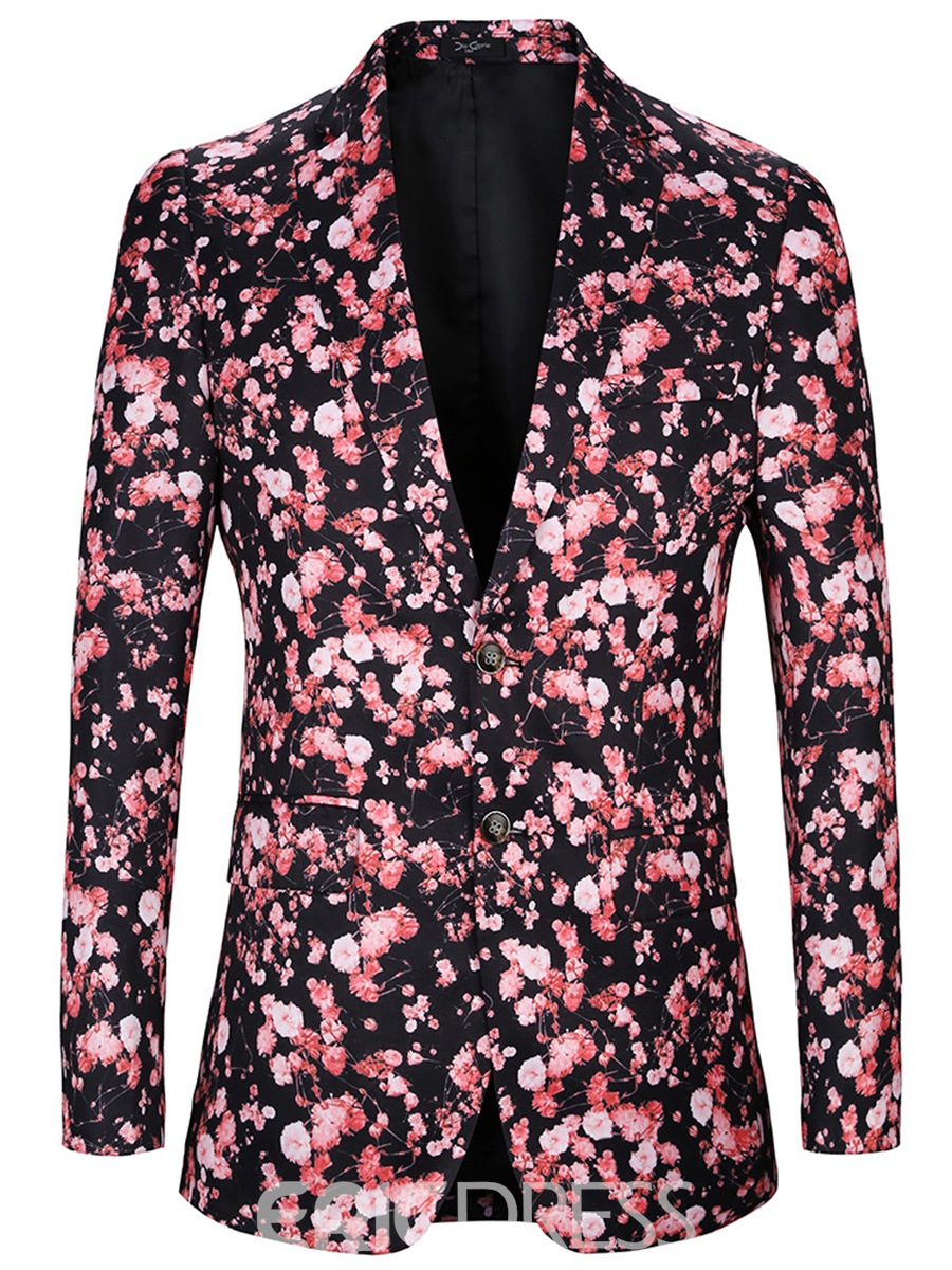 Ericdress Floral Print Fit Single-Breasted Men's Blazer