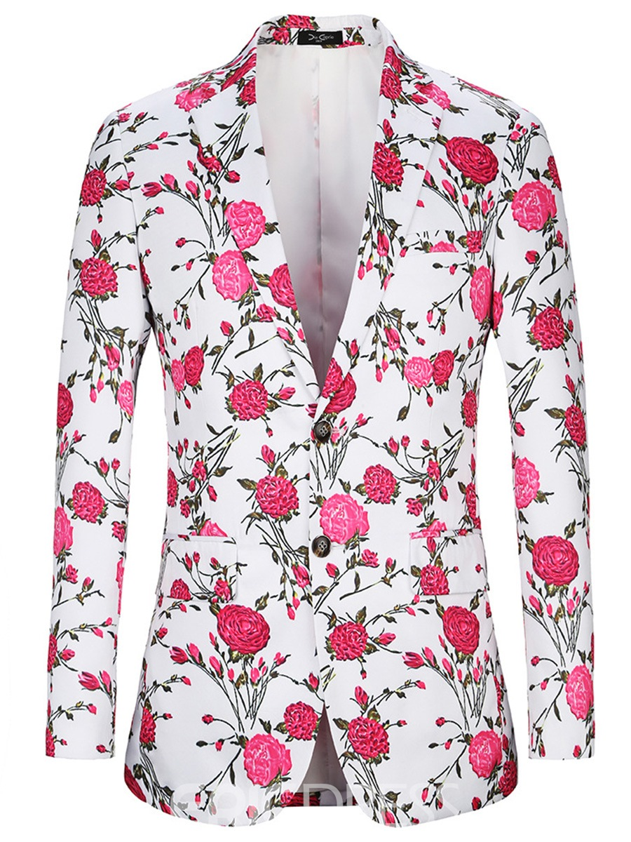 Ericdress Floral Printed Notched Lapel Single-Breasted Mens Casual Blazer