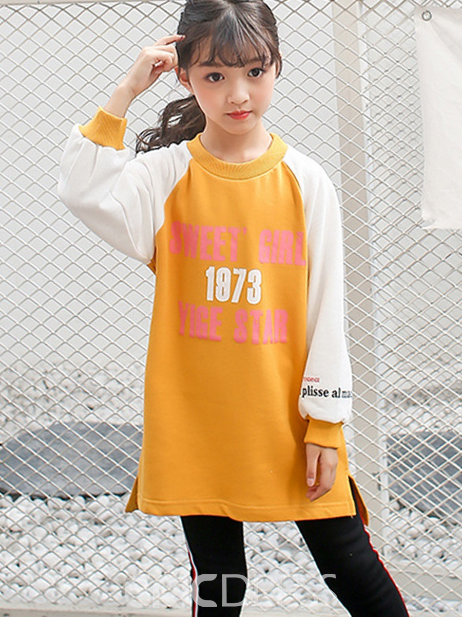 Ericdress Color Block Letter Print Girl's Thick Sweater