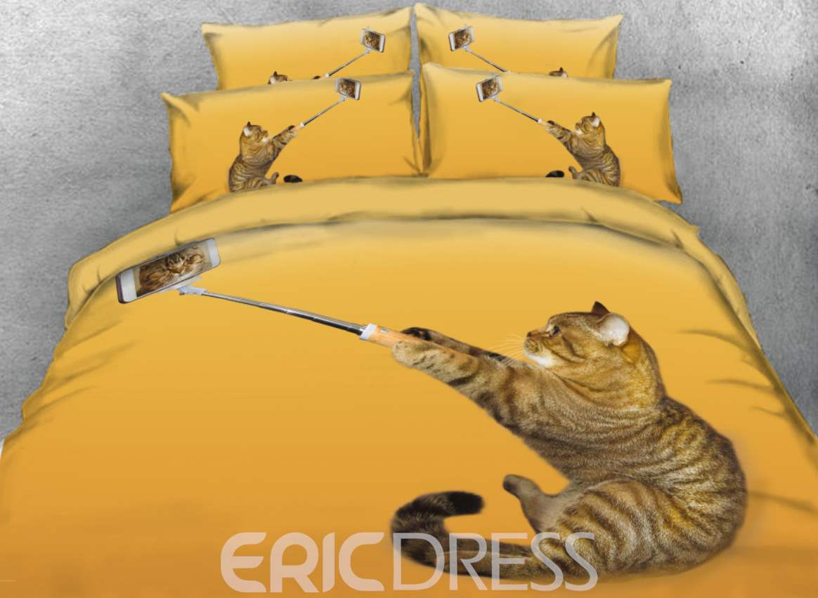 Vivilinen 3D Cute Cat Selfie Printed Yellow 4-Piece Bedding Sets/Duvet Cover
