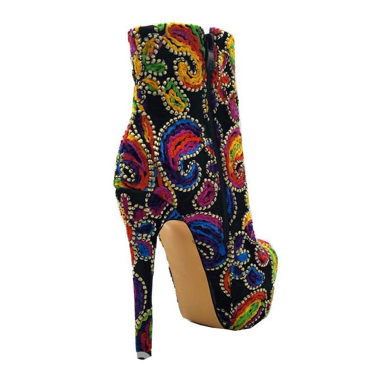 Ericdress Platform Stiletto Heel Women's Embroidered Boots