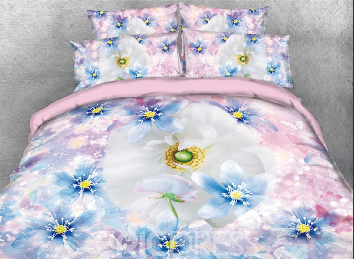 Vivilinen White and Blue Daisy Printed 4-Piece Pink 3D Bedding Sets/Duvet Covers