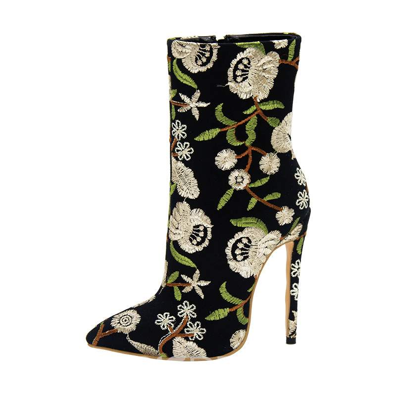 Ericdress Embroidery Stiletto Heel Pointed Toe High Heel Boots