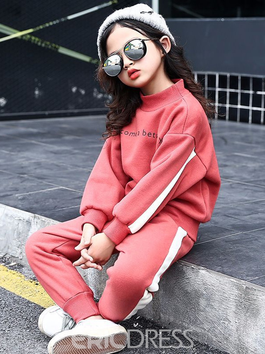 Ericdress Letter Print Sweatshirt with Pants Girls' Outfit