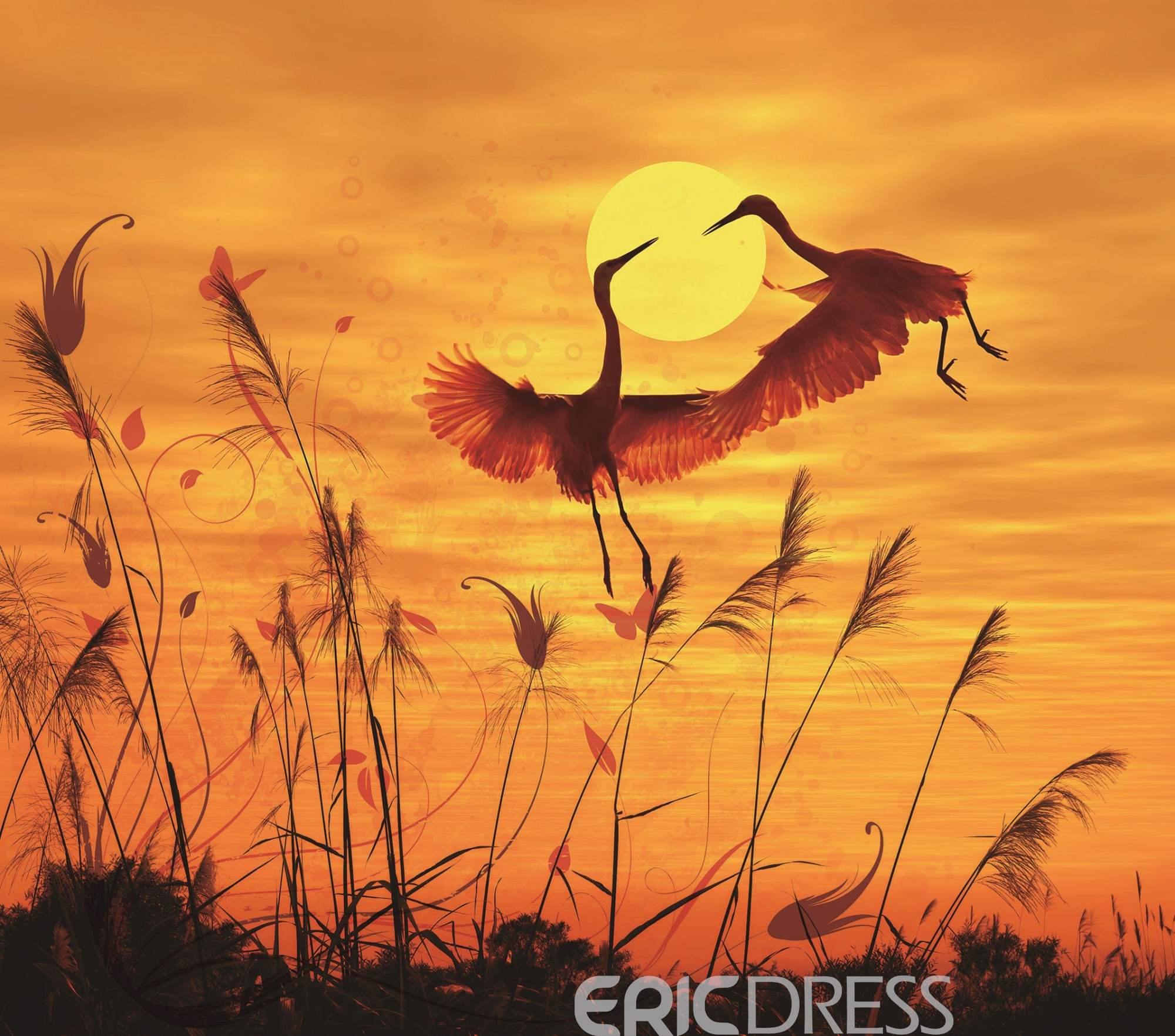 Vivilinen 3D Red-crowned Crane at Sunrise Printed 4-Piece Yellow Bedding Sets/Duvet Covers