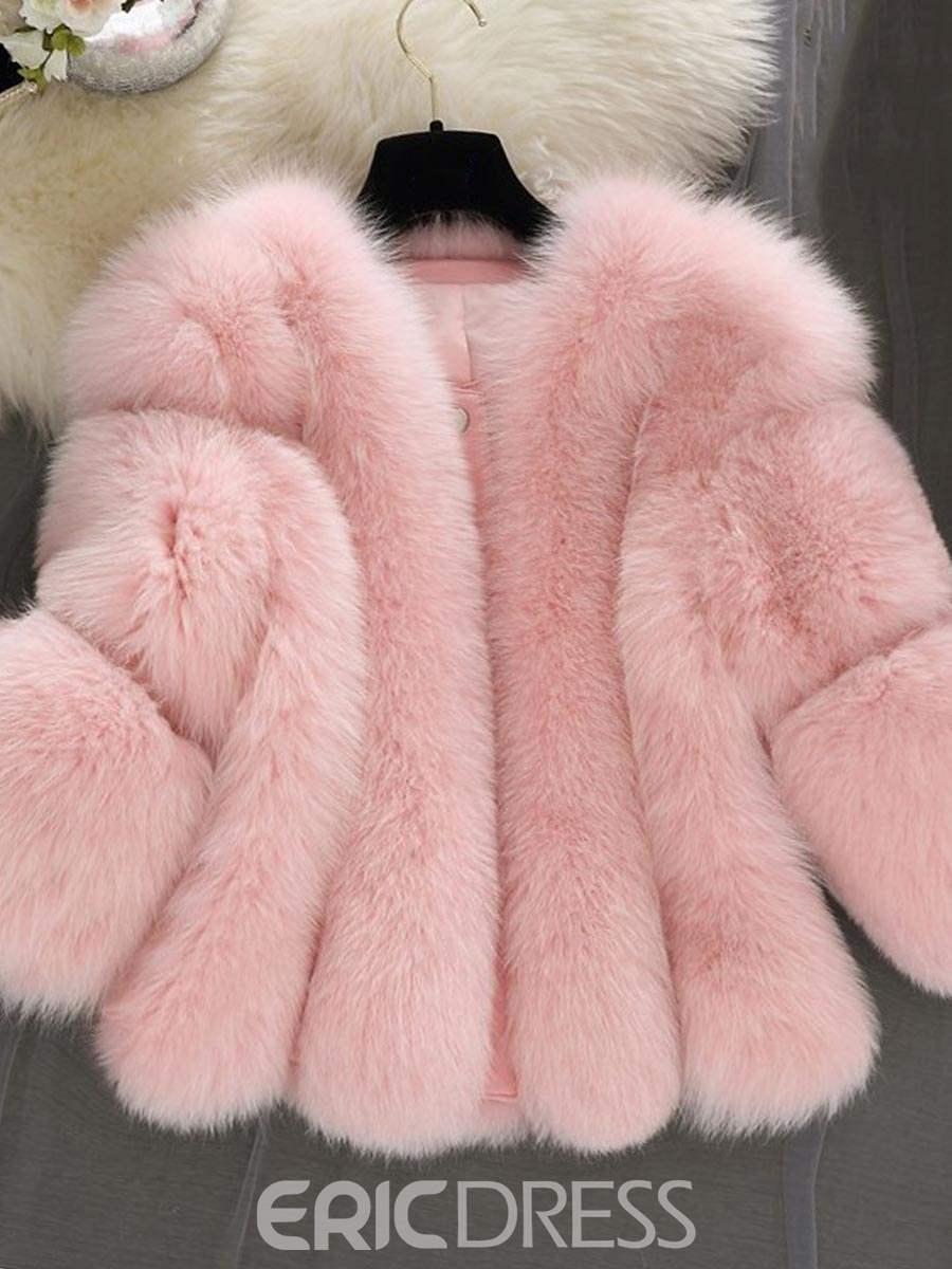 Ericdress Loose Thick Faux Fur Coat