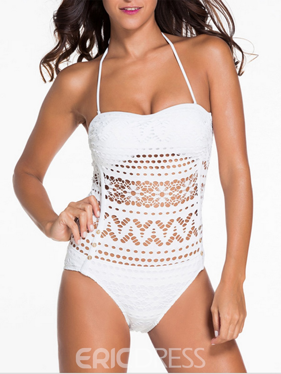 Ericdress Plain Hollow Mesh One Piece Swimwear