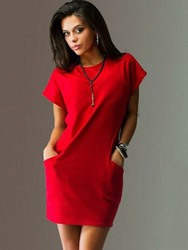 Ericdress Pocket Above Knee Round Neck Bodycon Summer Dress thumbnail