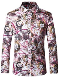 Ericdress Floral Print Long Sleeve Mens Casual Shirt