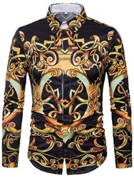 Ericdress Print Vintage Long Sleeve Mens Shirt
