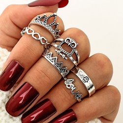 Ericdress Owl&Crown&Love Womens Ring Set