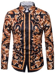Ericdress Lapel Floral Print Vintage Long Sleeve Mens Shirt