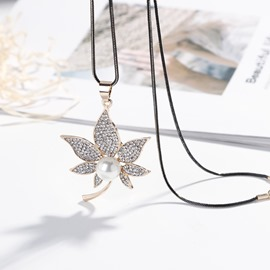 Ericdress fully-Jewelled Maple Leaves Pendant Necklace