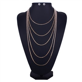 Ericdress Concise Multilayers Diamante Jewerly Set