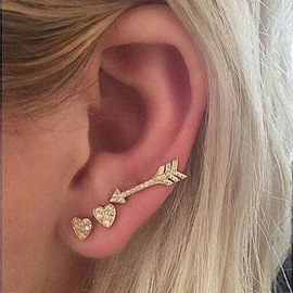 Ericdress Diamante Heart Arrow Ear Cuff for Women